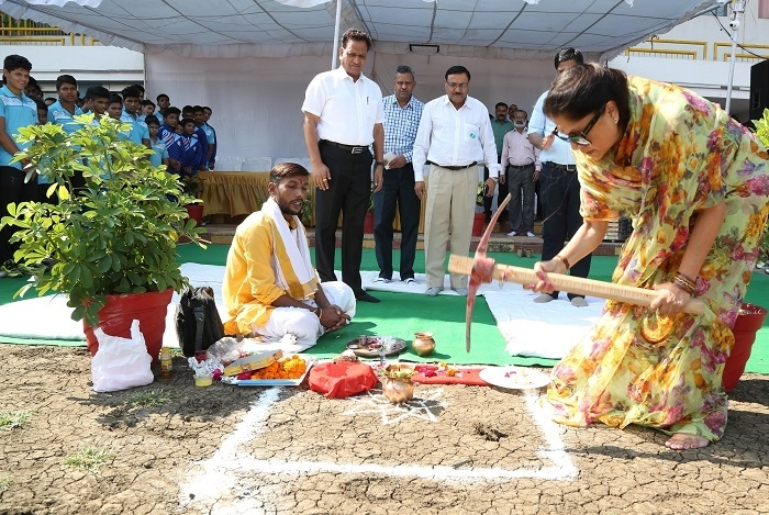 ​The Sports Minister leads the Bhumi Pujan ceremony of International Level Athletic Synthetic Technology trek at  T.T Stadium, Bhopal