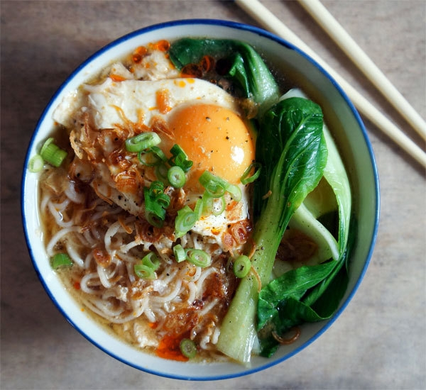 Miso Ramen Soup With Pakchoi And Poached Egg