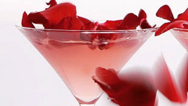 Cocktail with Vodka Rose Petals