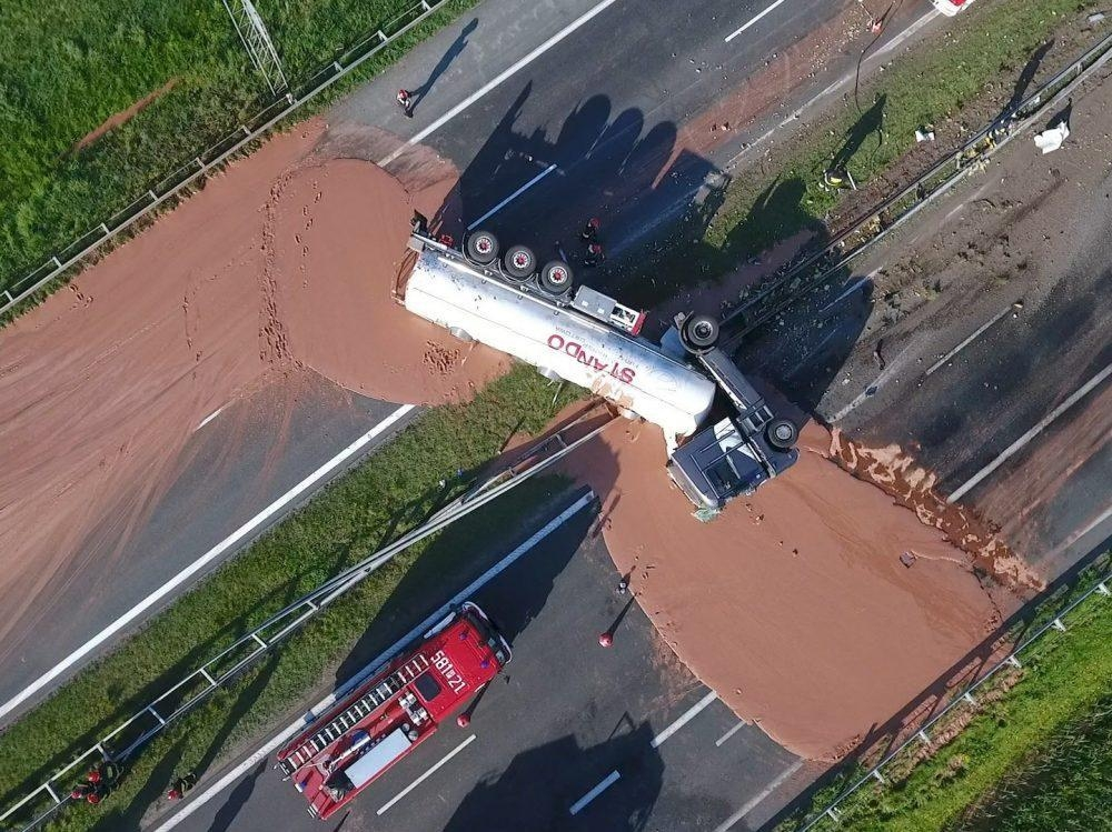 Liquid Chocolate spill on Warsaw Highway
