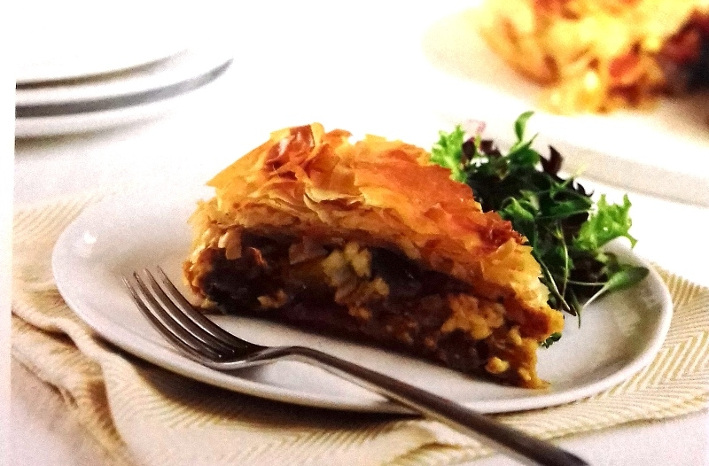 Spiced aubergines with filo crust