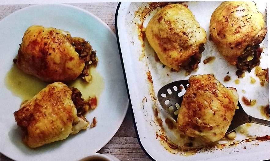 Chicken thighs with chestnut stuffing