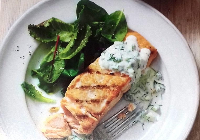 Griddled salmon tranches