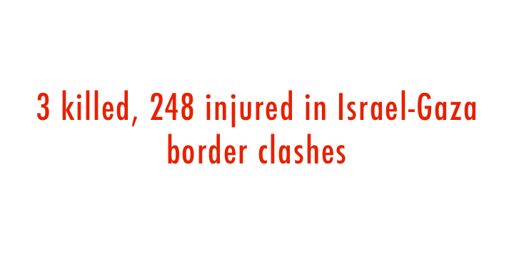 3 killed, 248 injured in Israel-Gaza border clashes