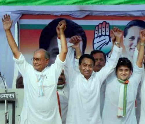 Contention for CM post in Madhya Pradesh among Digvijay Singh, Kamal Nath and Jyotiraditya Scindia