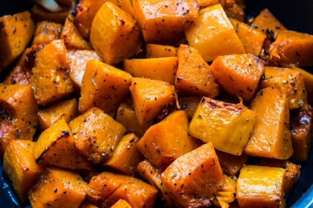 Golden roasted pumpkin