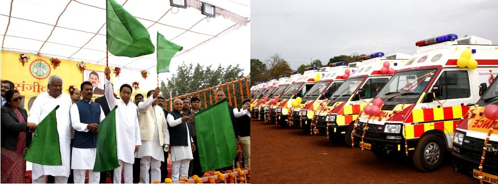 CM Kamal Nath flags off 40 new 108 Ambulances