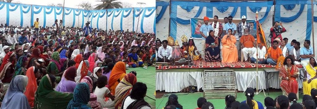 Devotees Participate in Seva Yatra on its Arrival at Dharmpura