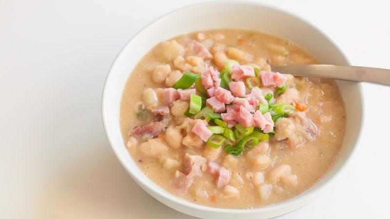 Slow-Cooker Ham, White Bean and Potato Soup