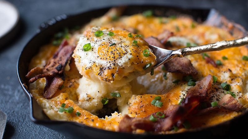 Cheesy Mashed Potato Egg Skillet Casserole