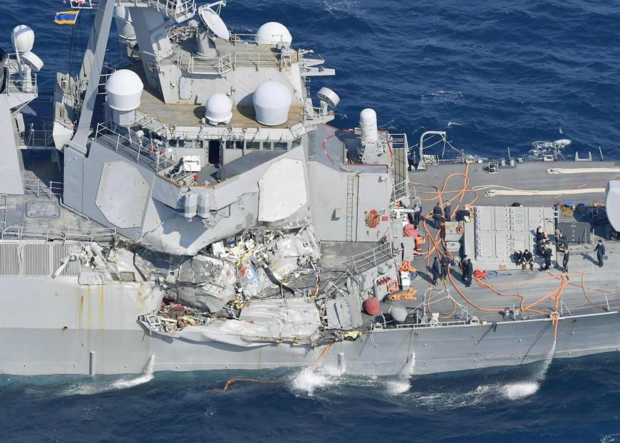 US Navy ship collides with cargo vessel off Japan coast