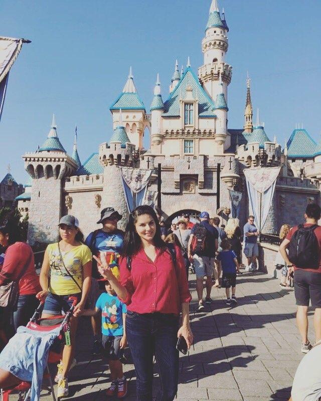 Disneyland for Nisha's birthday!!hehe with the sweetest husband and papa ever - Sunny Leone !